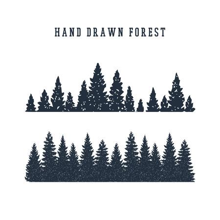 Ręcznie rysowane las sosnowy teksturowanej ilustracji wektorowych.