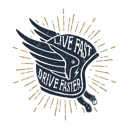 Hand drawn helmet textured vector illustration and Live fast, drive faster lettering.