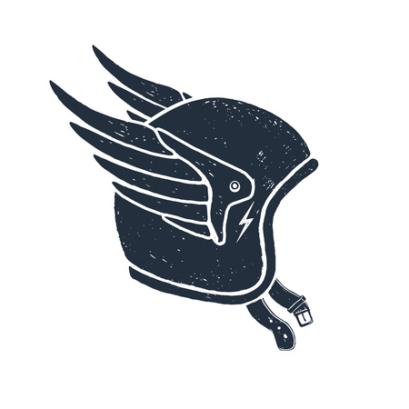 Hand drawn racing helmet textured vector illustration. Иллюстрация