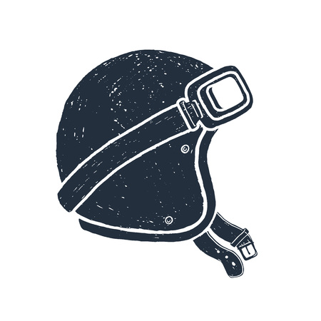 Hand drawn racing helmet textured vector illustration. Illustration