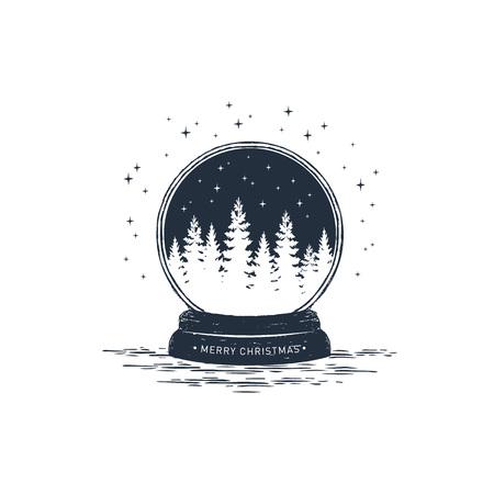 Hand drawn snow ball textured vector illustration and Merry Christmas! inspirational lettering. Illusztráció