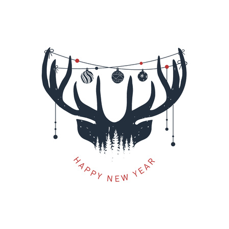 Hand drawn reindeer textured vector illustration and Happy New Year! inspirational lettering.