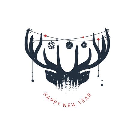 """Hand getrokken rendieren getextureerde vectorillustratie en """"Gelukkig Nieuwjaar!"""" inspirerende belettering. Vector Illustratie"""