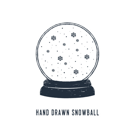 Hand drawn snow ball and snowflakes textured vector illustrations.