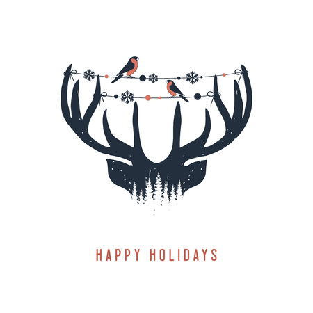 Hand drawn reindeer textured vector illustration and Happy holidays inspirational lettering.