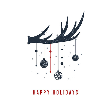 Hand drawn antlers textured vector illustration and Happy holidays! inspirational lettering.