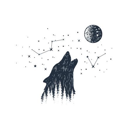 手描きのハウリングオオカミと星座テクスチャベクトルイラスト。  イラスト・ベクター素材