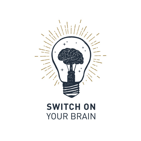 Hand drawn inspirational label with light bulb textured vector illustration and