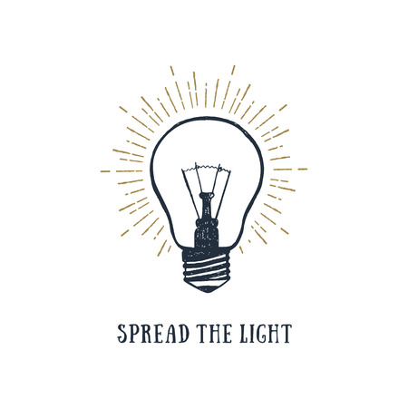 Hand drawn inspirational label with light bulb textured vector illustration and Spread the light lettering.