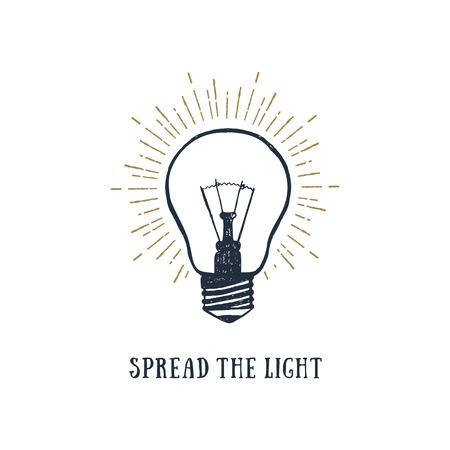 """Hand getekend inspirerende label met gloeilamp getextureerde vectorillustratie en """"Spread the light"""" belettering."""