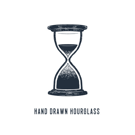 Hand drawn hourglass textured vector illustration.
