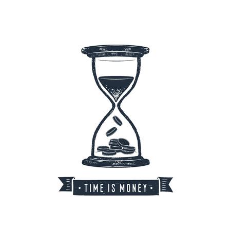 """손으로 그려진 된 영감 레이블 모래 시계 질감 된 벡터 일러스트 레이 션과 """"시간은 돈이다""""글자."""