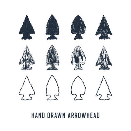 ●手描きのテクスチャー矢印ベクトルイラストセット。