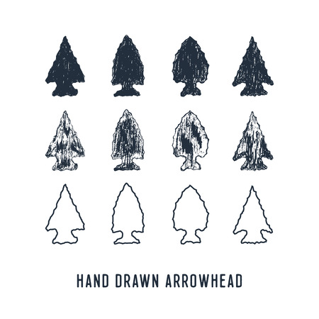 Hand drawn textured arrowheads vector illustrations set.
