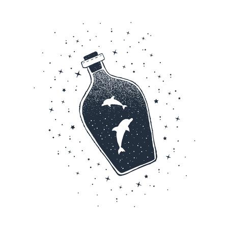 Hand drawn nautical badge with dolphons in a bottle textured vector illustration. Illusztráció