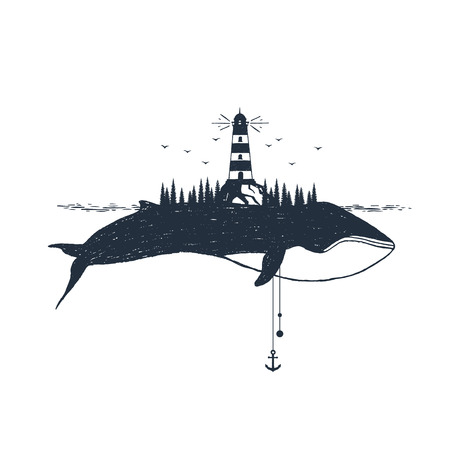 Hand drawn nautical badge with lighthouse and whale textured vector illustrations. Иллюстрация