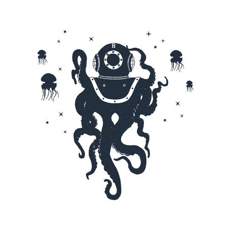 Hand getekend nautische badge met octopus en kwallen getextureerde vectorillustraties.