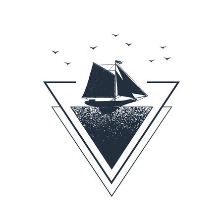●ヨットテクスチャベクトルイラスト付き手描きの航海バッジ。幾何学的なスタイル。