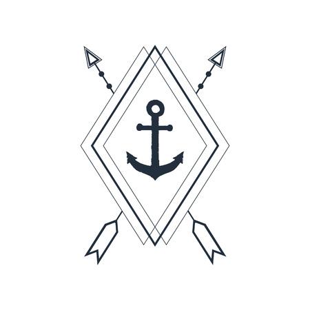 Hand drawn nautical badge with anchor textured vector illustration. Geometric style. Illusztráció