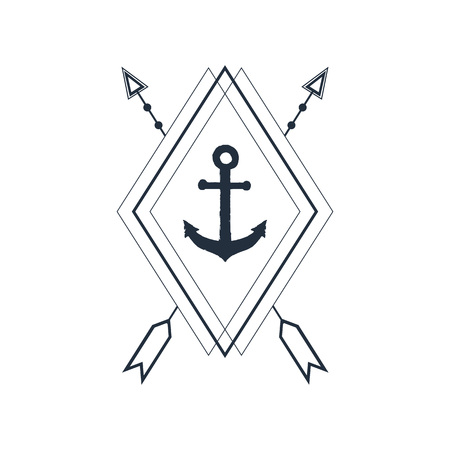 Hand drawn nautical badge with anchor textured vector illustration. Geometric style. Illustration