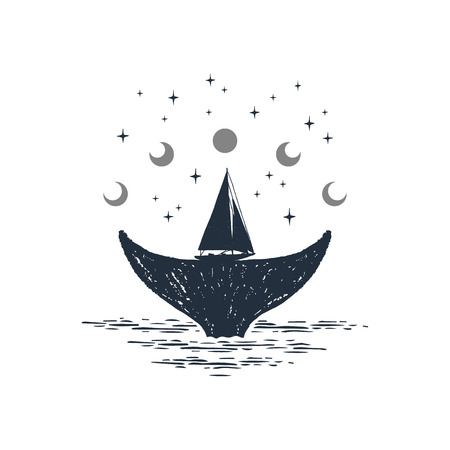 Hand drawn nautical badge with whales tail and yacht textured vector illustrations.