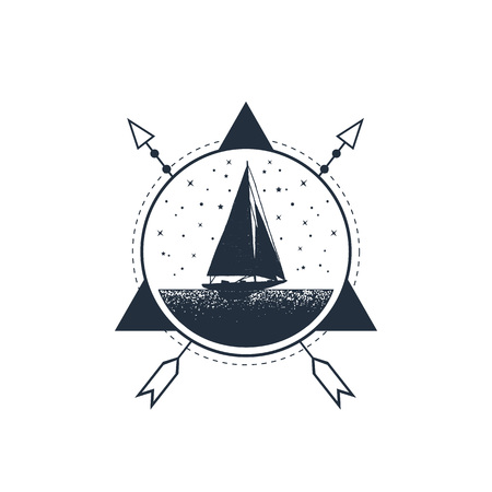 Hand drawn nautical badge with yacht textured vector illustration. Geometric style.