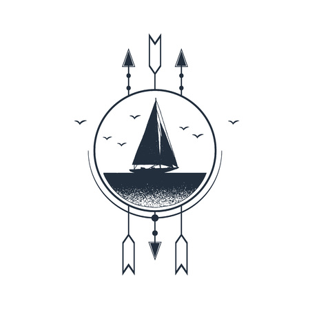 Hand drawn nautical badge with yacht textured vector illustration.
