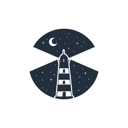 Hand drawn nautical badge with lighthouse in the night textured vector illustration.