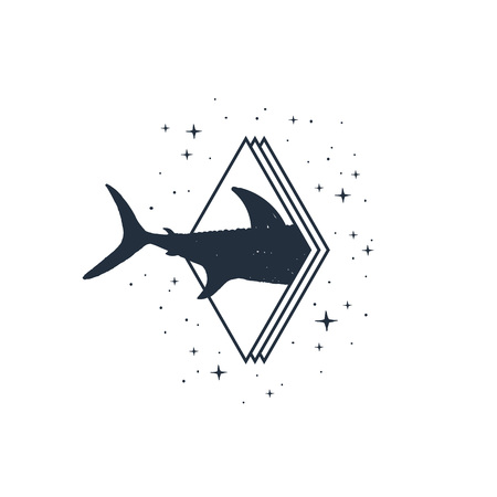 Hand drawn nautical badge with sharks tail textured vector illustration.