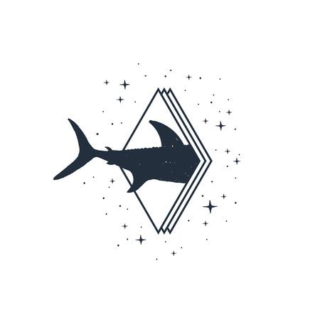 Hand drawn nautical badge with shark's tail textured vector illustration. Иллюстрация