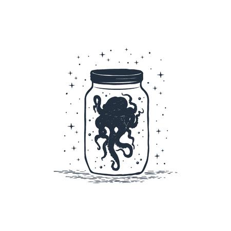 Hand drawn nautical badge with octopus in a jar textured vector illustration. Illusztráció