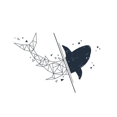Hand drawn nautical badge with shark textured vector illustration.