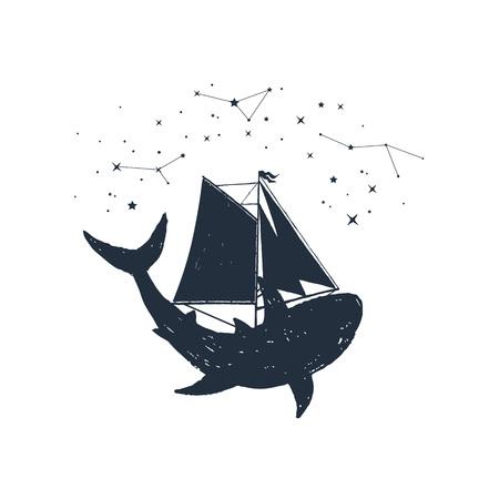 Hand drawn nautical badge with shark, sails and constellations textured vector illustrations. Illusztráció