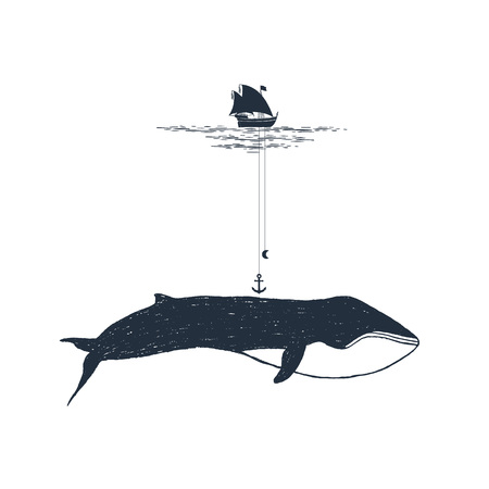 Hand drawn nautical badge with yacht and whale textured vector illustrations. Illusztráció