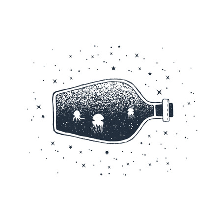Hand drawn nautical badge with jellifish in a bottle textured vector illustration. Vettoriali