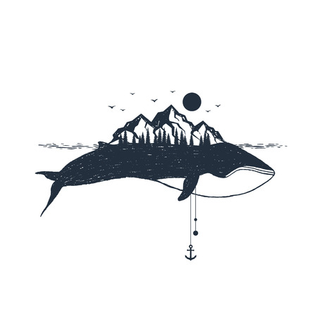 Hand drawn nautical badge with whale and mountains textured vector illustrations.