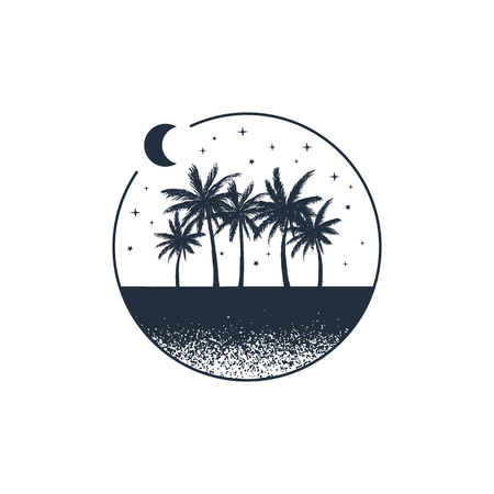 Hand drawn travel badge with palm trees textured vector illustration.