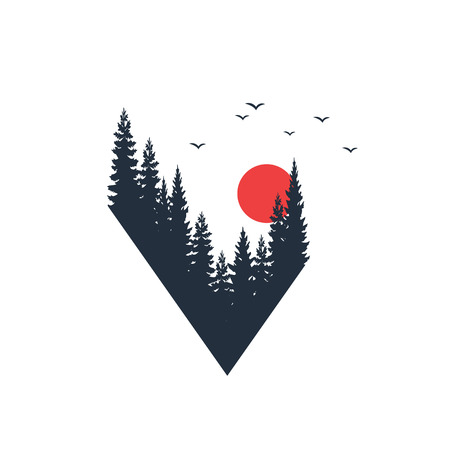 Hand drawn travel badge with fir trees textured vector illustration. Ilustração