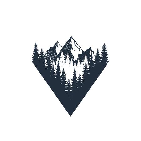 ●モミの木や山々のテクスチャーベクトルイラストを使用した手描きのトラベルバッジ。