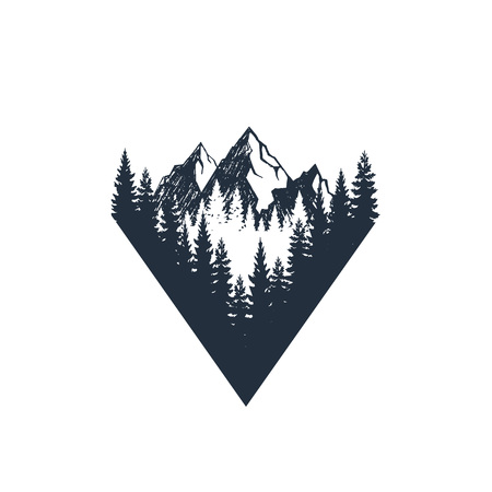 Hand drawn travel badge with fir trees and mountains textured vector illustrations. Reklamní fotografie - 94391983