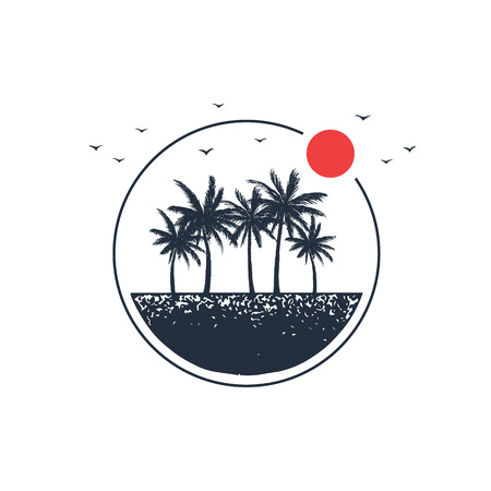 Hand drawn travel badge with palm trees textured vector illustration. Imagens - 94392036