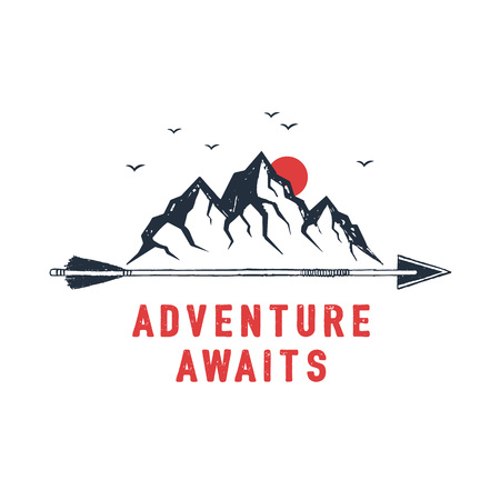 Hand drawn travel badge with mountains textured vector illustration and Adventure awaits inspirational lettering.