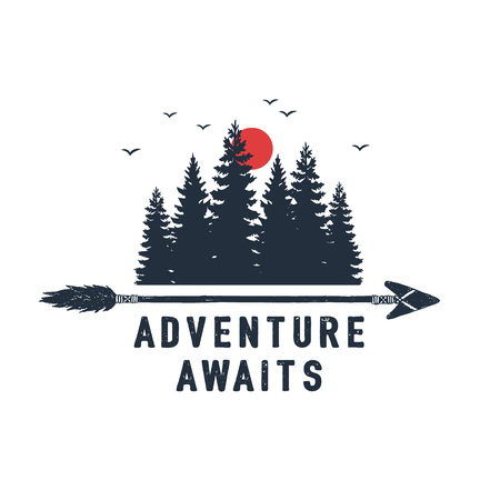 Hand drawn travel badge with fir trees textured vector illustration and Adventure awaits inspirational lettering.