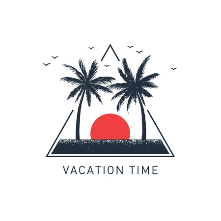 Hand drawn travel badge with palm trees textured vector illustration and Vacation time inspirational lettering. Ilustracja