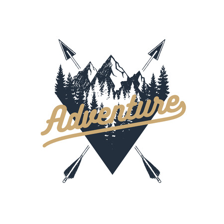 Hand drawn travel badge with fir trees and mountains textured vector illustration and Adventure inspirational lettering.