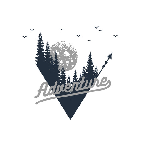 Hand drawn travel badge with fir trees textured vector illustration and Adventure inspirational lettering.