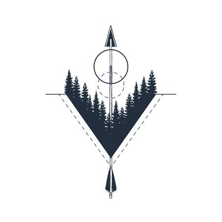 モミの木のテクスチャベクトルイラストと手描きの幾何学的なバッジ。