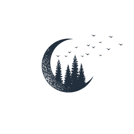 Hand drawn travel badge with crescent and fir trees textured vector illustrations. Stock Illustratie