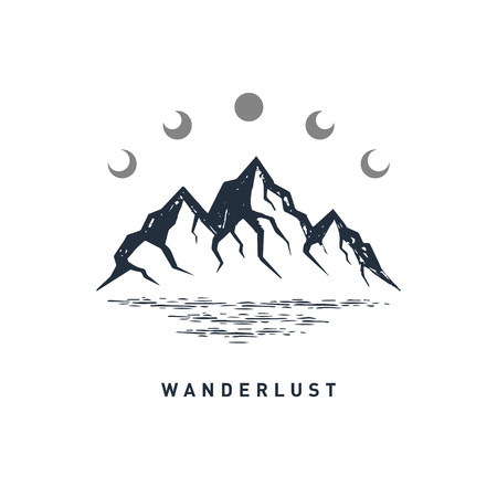 Hand drawn travel badge with mountains textured vector illustration and Wanderlust inspirational lettering.