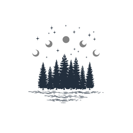 Hand drawn travel badge with fir trees and moon phases textured vector illustrations. Stock Illustratie